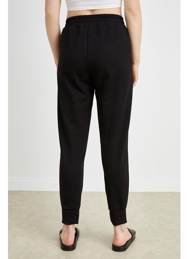 Curly Siyah, Beli Bağcıklı Dar Paça Jogger Pantolon Siyah